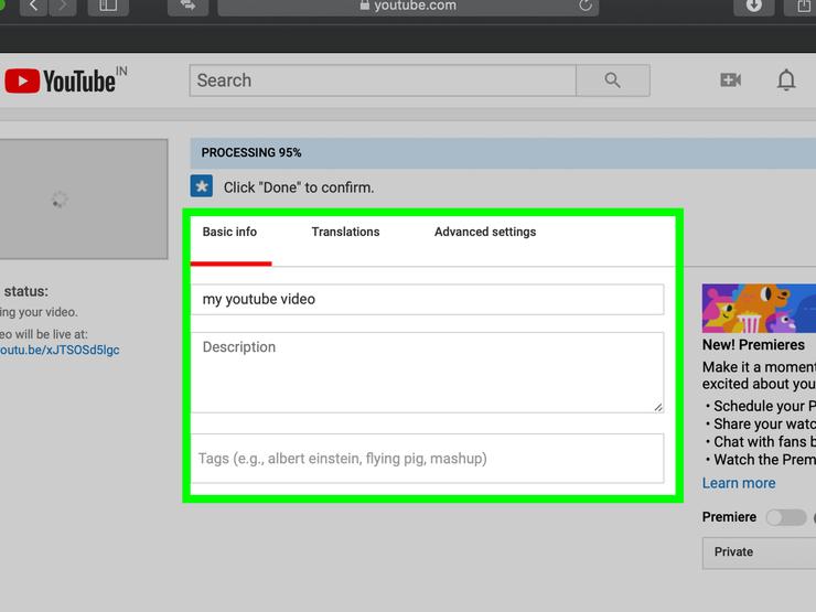 В первое поле вводится название видео, во второе — описание, а в третье — теги